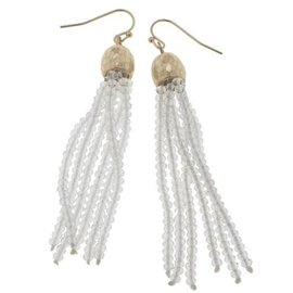 Canvas Jewelry Canvas Clear/Gold Glass Bead Tassel Earrings CLOSEOUT