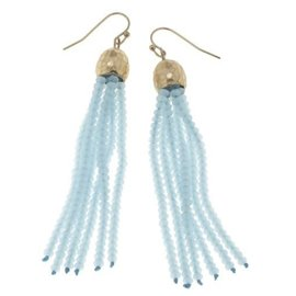 Canvas Jewelry Canvas Aqua/Gold Glass Bead Tassel Earrings CLOSEOUT
