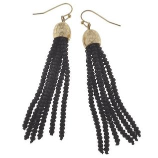 Canvas Jewelry Canvas Black/Gold Glass Bead Tassel Earrings CLOSEOUT