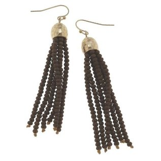 Canvas Jewelry Canvas Bronze/Gold Glass Bead Tassel Earrings CLOSEOUT
