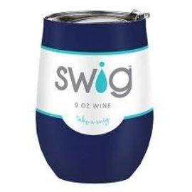 Swig Swig Wine Cup Navy Blue 9 oz