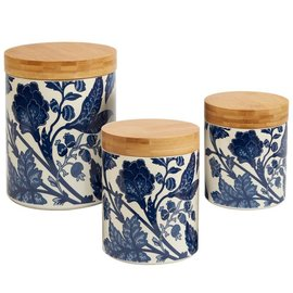 Certified International Certified International Blue Indigo 3 Piece Canister Set with Bamboo Lids
