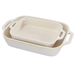 Staub Staub Ceramic Rectangular Baking Dish 2pc Set Rustic Ivory