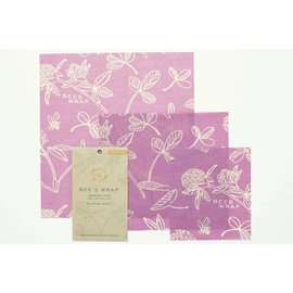Bees Wrap Bee's Wrap ASSORTED 3 pack Clover Print Mimi's Purple