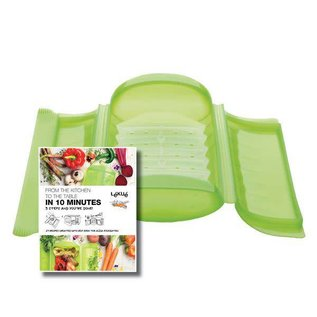 Lekue USA Lékué  Large Steam Case with Draining Tray and Cookbook, Green