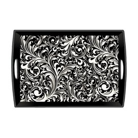 Michel Design Works Michel Design Works Decoupage Wooden Tray Black Florentine 20x13.75 inch