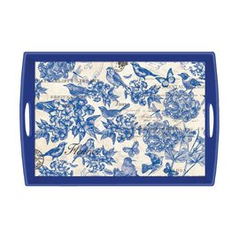 Michel Design Works Michel Design Works Decoupage Wooden Tray Indigo Cotton 20x13.75 inch