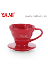 YAMI CERAMIC COFFEE DRIPPER 1-2 CUP RED (V60 STYLE)