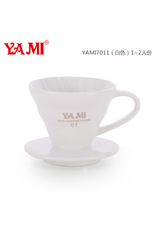 YAMI CERAMIC COFFEE DRIPPER 1-2 CUP WHITE (V60 STYLE)