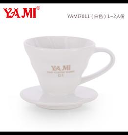 YAMI CERAMIC COFFEE DRIPPER 1-2 CUP WHITE (V60 STYLE)