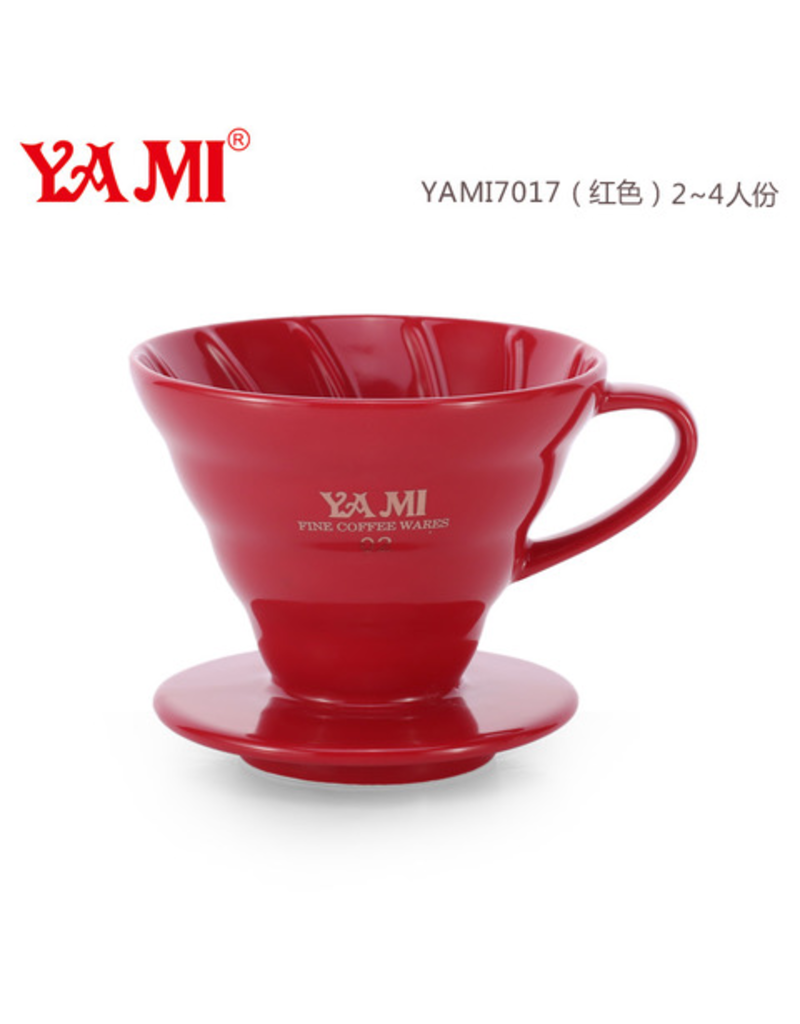 YAMI CERAMIC COFFEE DRIPPER 2-4 CUP RED (V60 STYLE)