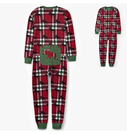 Hatley Holiday Moose on Plaid Kid Union Suit