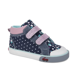 See Kai Run Kya Navy Dot Hightop Sneakers