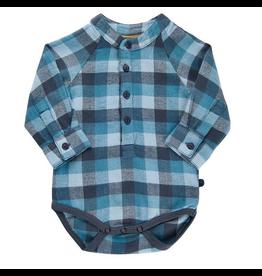 Minymo Plaid Button Bodysuit
