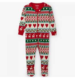 Hatley Mistletoe Deer Fair Isle Organic Footed Coverall