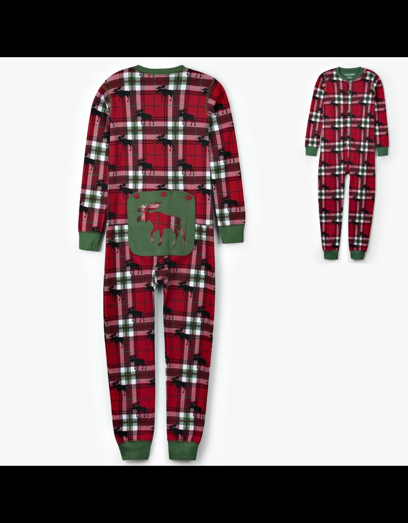 Hatley Holiday Moose on Plaid Kid Union Suit