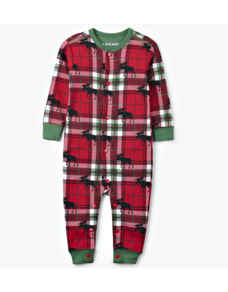 Hatley Holiday Moose on Plaid Baby Union Suit