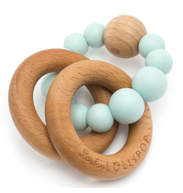 Loulou Lollipop Robin's Egg Silicone/Wood Bubble Rattle
