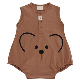 Turtledove London Bear Face Bubble Organic Romper