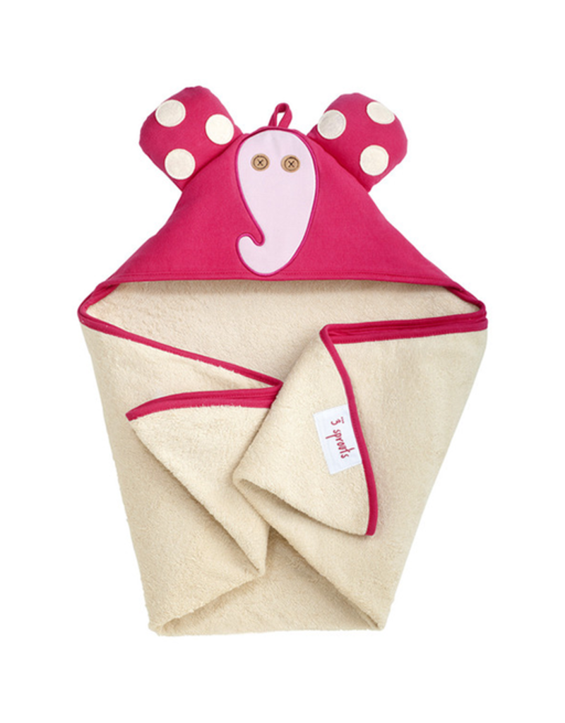3 Sprouts Hooded Towel Elfie Pink