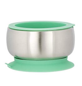 Avanchy Stainless Suction Bowl + Spoon - Green
