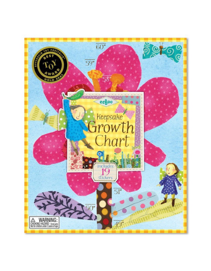Eeboo Growth Chart - Hot Pink Flower