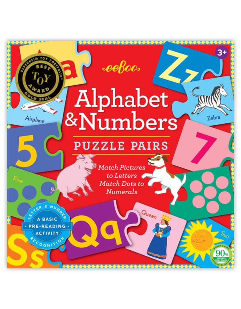 Eeboo Alphabet & Numbers Puzzle Pairs 3rd Edition