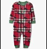 Hatley Moose on Plaid Baby Union Suit