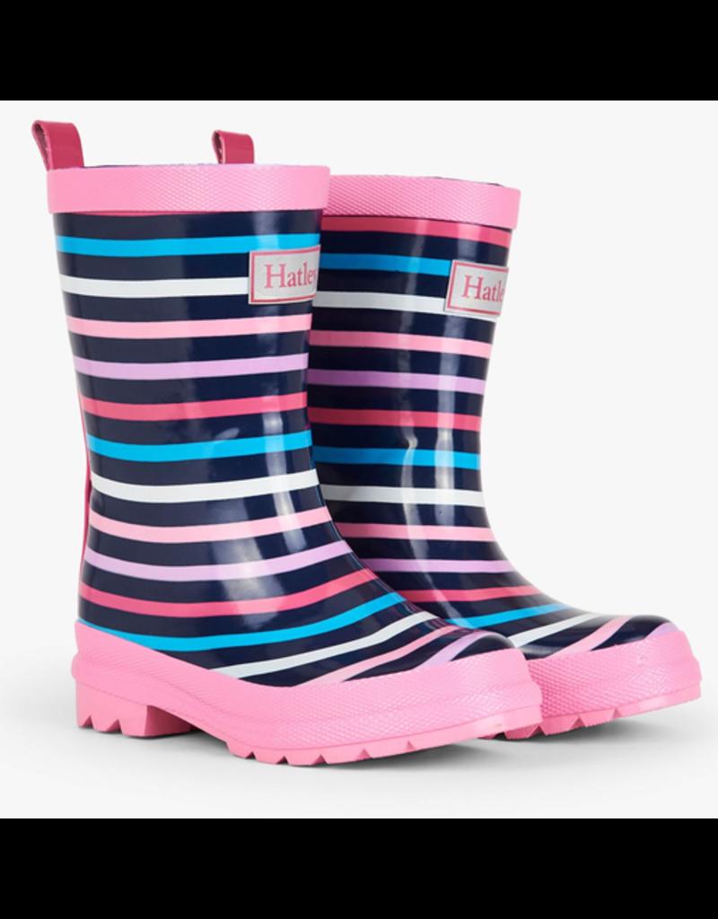 Hatley Colourful Stripes Rain Boots Size 4