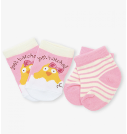 Hatley Pink Just Hatched Baby Socks 2pk, 0-12m