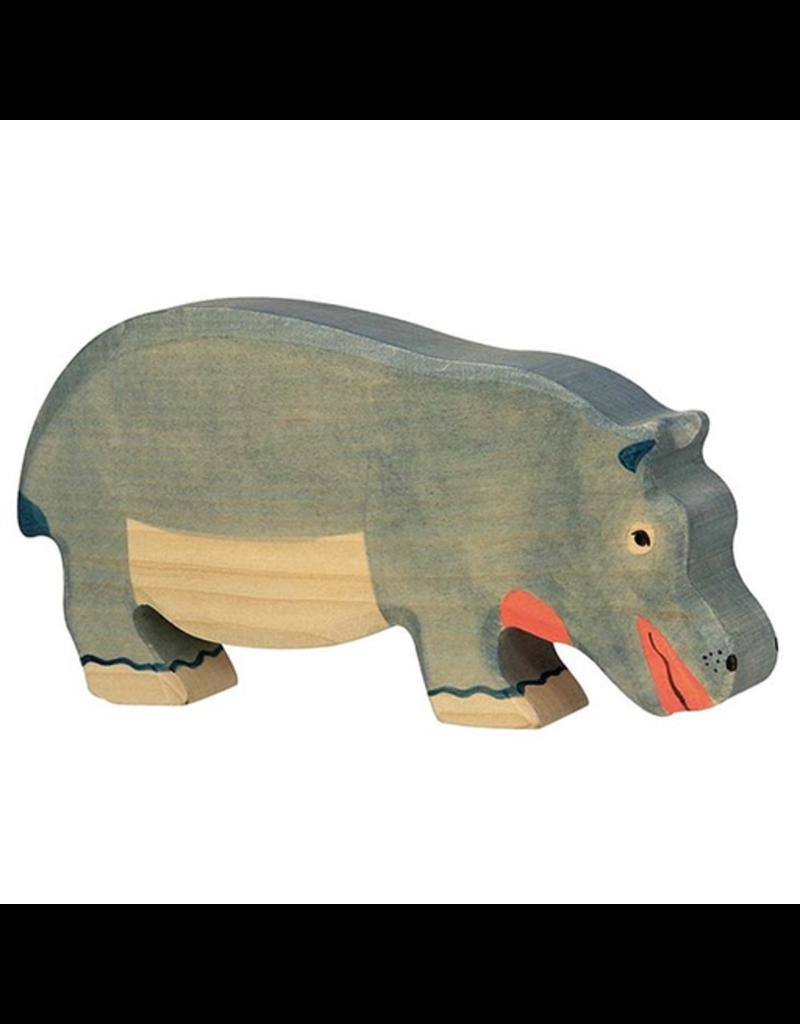Holztiger Hippopotamus, feeding