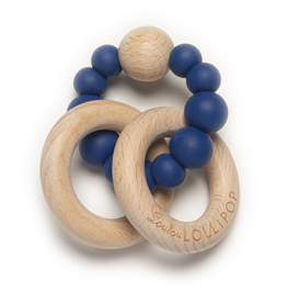 Loulou Lollipop Silicone/Wood Bubble Rattle - True Blue