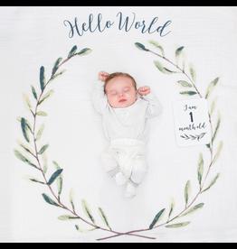 Lulujo Milestone Blanket Set - Hello World Wreath