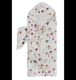 Loulou Lollipop Rosey Bloom Hooded Towel & Cloth