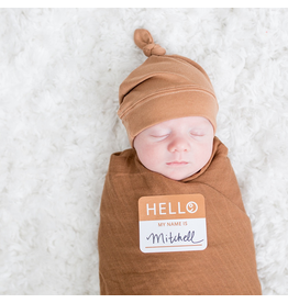 Lulujo Hello World Blanket & Knotted Hat - Tan