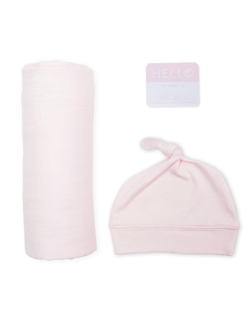 Lulujo Hello World Blanket & Knotted Hat - Pink