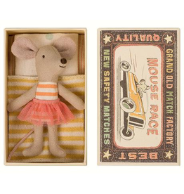 Maileg Mouse in Box - Little Sister (Striped Dress)