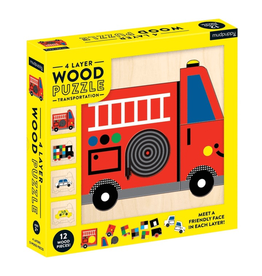 Mudpuppy Transportation 4 Layer Wood Puzzle, 2y+