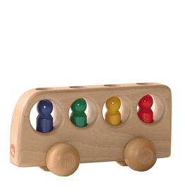 Ostheimer Wooden Toys Vehicle - Bus Natural w/4 People