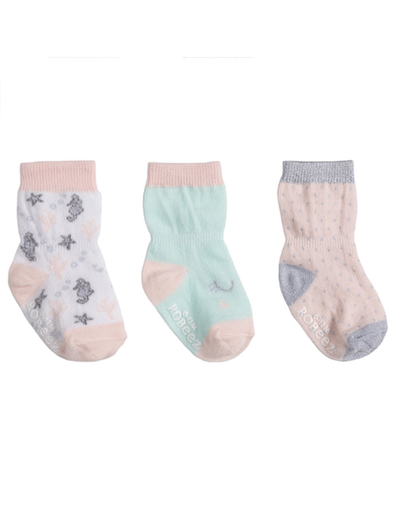 Robeez Shoes Girl's Sock 3pk - Coral