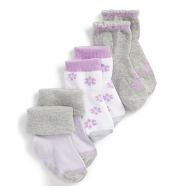 Robeez Shoes Girl's Sock 3pk - Purple Flowers