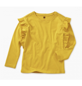 Tea Collection Goldenrod Solid Ruffle Sleeve Top