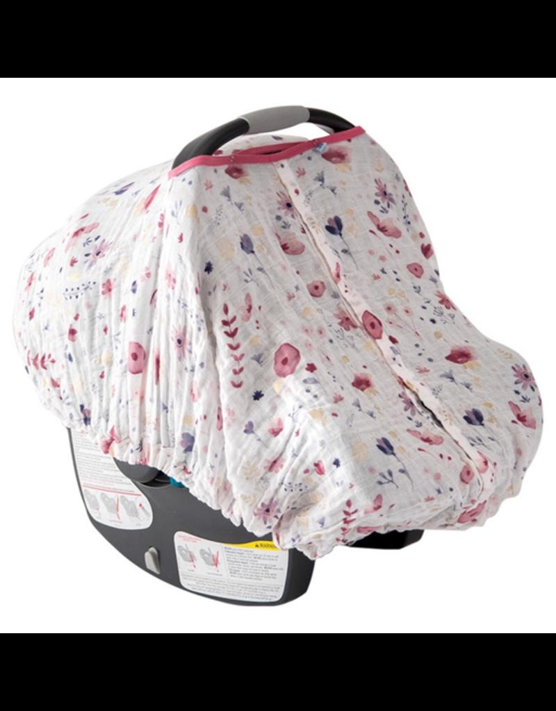Cotton Muslin Car Seat Canopy - Fairy Garden