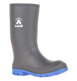 Kamik Charcoal/Blue Stomp Youth Rain Boots