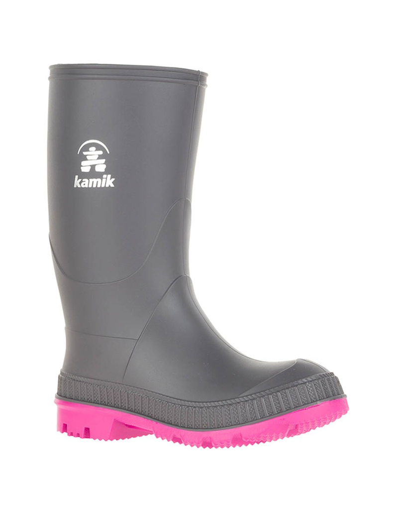 Kamik Charcoal/Magenta Stomp Youth Rain Boots