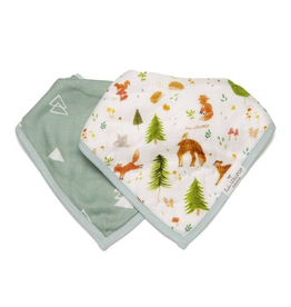 Loulou Lollipop Muslin Bandana Bib Set, Forest Friends, 2pk