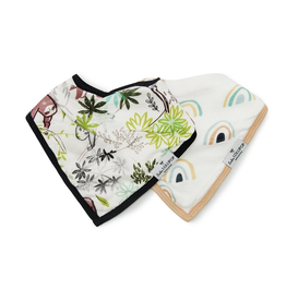 Loulou Lollipop Muslin Bandana Bib Set, Sloth, 2pk