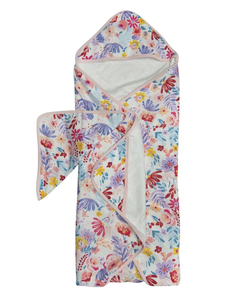 Loulou Lollipop Light Field Flowers Hooded Towel & Cloth
