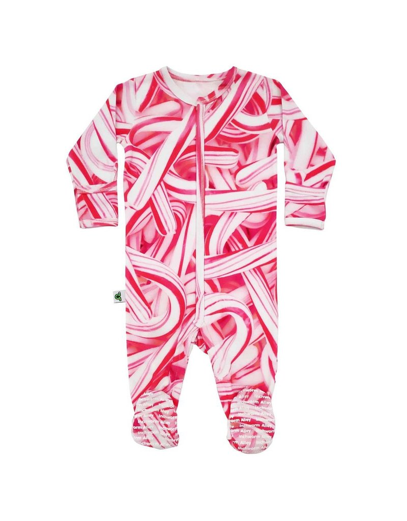 Inchworm Alley Candy Canes Organic Footed Sleeper