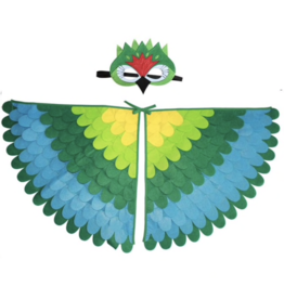 Feather Cape + Green Parrot Mask, One Size